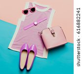 pink clothes and accessories.... | Shutterstock . vector #616882241