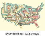 editable vector illustrated map ... | Shutterstock .eps vector #61689538