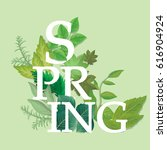 spring word with leaves... | Shutterstock .eps vector #616904924