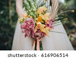 the bride in a white dress... | Shutterstock . vector #616906514