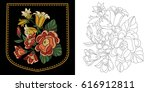 embroidery design of shirt... | Shutterstock .eps vector #616912811