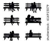 children silhouette set sitting ... | Shutterstock .eps vector #616915079