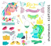 cute magic collection with... | Shutterstock .eps vector #616915301