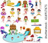 water aquapark playground with... | Shutterstock . vector #616917671
