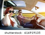 car interior and two lovers  | Shutterstock . vector #616919135