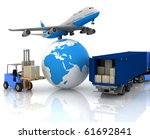 airliner with a globe and... | Shutterstock . vector #61692841
