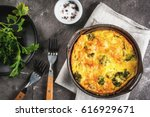 traditional french food. quiche ... | Shutterstock . vector #616929671