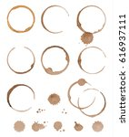 vector set of cofee ring stains.... | Shutterstock .eps vector #616937111