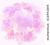 easter wreath with hand drawn... | Shutterstock . vector #616941845