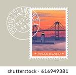 rhode island postage stamp... | Shutterstock .eps vector #616949381