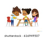happy kids having breakfast by... | Shutterstock . vector #616949507