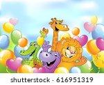 cartoon animals in multi...