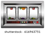 slot machine with blank reels... | Shutterstock .eps vector #616963751