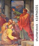 Small photo of ROME, ITALY - SEPTEMBER 05: The fresco with the image of the life of St. Paul: St. Paul preaching, basilica of Saint Paul Outside the Walls, Rome, Italy on September 05, 2016.