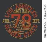 los angeles typography design ... | Shutterstock . vector #616967561