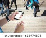 digital composite of men hands...   Shutterstock . vector #616974875