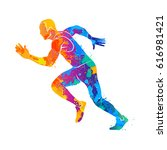 running  sprinter  athlete | Shutterstock . vector #616981421