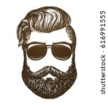 hand drawn portrait of man with ... | Shutterstock .eps vector #616991555