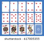 Playing cards diamonds suite on a blue background. Original figures inspired by french tradition.
