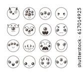 set of cute lovely kawaii... | Shutterstock .eps vector #617014925