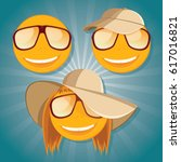 set of funny smiley with... | Shutterstock .eps vector #617016821
