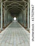 concrete block pathway with... | Shutterstock . vector #617029667