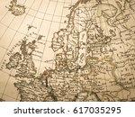 antique world map northern...   Shutterstock . vector #617035295