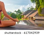 good morning with yoga... | Shutterstock . vector #617042939
