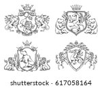 vector set of various heraldic... | Shutterstock .eps vector #617058164
