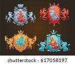 vector set of various heraldic... | Shutterstock .eps vector #617058197