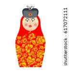 matryoshka russian folk doll.... | Shutterstock .eps vector #617072111