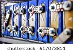 Stock photo abstract blurry bokeh background image for the background production of lithium batteries for 617073851