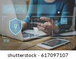 hands working on laptop network ...   Shutterstock . vector #617097107