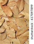 dried bay leaves on a brown...   Shutterstock . vector #617097899