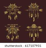 set of hand drawn boho style... | Shutterstock .eps vector #617107931