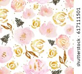 glitter flower pattern   Shutterstock . vector #617111501