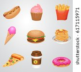 fast food icon set  detailed... | Shutterstock . vector #617115971