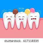 sensitive teeth with ice cream. ... | Shutterstock .eps vector #617118335