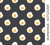 fried eggs seamless pattern on... | Shutterstock .eps vector #617121335