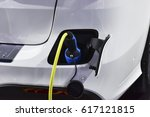 electric vehicle charging... | Shutterstock . vector #617121815