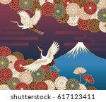 fuji mountain  cranes and... | Shutterstock .eps vector #617123411