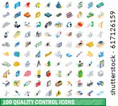 100 quality control icons set... | Shutterstock .eps vector #617126159