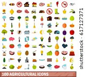 100 flat food icon set.... | Shutterstock .eps vector #617127371