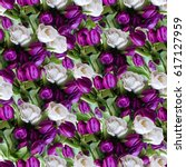 Small photo of Floral patten blossom flowers of tulips seamless. Artistic vivid flowers background white and purple flower blue leaves allover backdrop.
