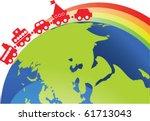 children train under the rainbow | Shutterstock .eps vector #61713043