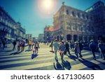 busy pedestrian crossing over... | Shutterstock . vector #617130605