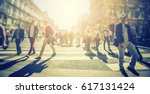 crowd of anonymous people... | Shutterstock . vector #617131424