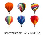 colorful hot air balloons... | Shutterstock . vector #617133185