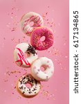 various decorated doughnuts in... | Shutterstock . vector #617134865