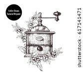 vintage coffee grinder. hand... | Shutterstock .eps vector #617141471